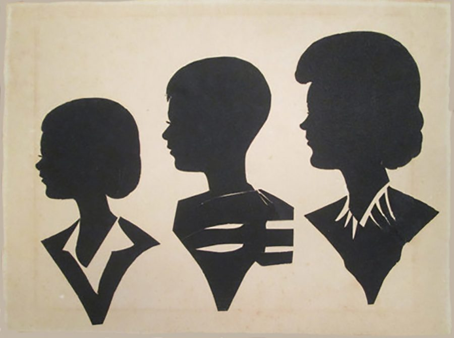 Three silhouettes with stylised bodies, all facing left