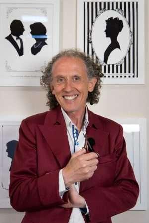 Charles Burns, April fool, in his Zoom studio