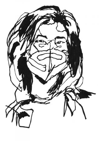 Paper cutting of a woman wearing a mask