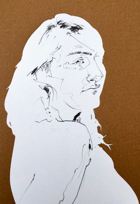 Cut portrait of a woman